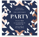 This is a blue holiday party invitation by Kelly Schmidt called Geometric Holiday Party printing on signature.