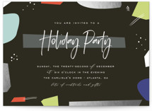 This is a black holiday party invitation by chocomocacino called antica printing on signature.