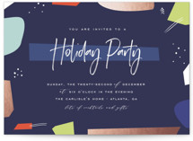 This is a blue holiday party invitation by chocomocacino called antica printing on signature.
