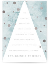 This is a blue holiday party invitation by Baumbirdy called Dotty Holiday printing on signature.