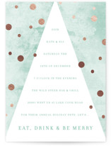 This is a green holiday party invitation by Baumbirdy called Dotty Holiday printing on signature.