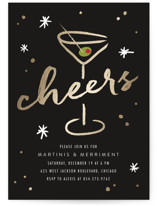 This is a black holiday party invitation by Erin Deegan called Martini printing on signature.