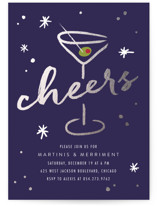 This is a blue holiday party invitation by Erin Deegan called Martini printing on signature.
