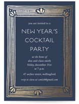 This is a blue holiday party invitation by Katharine Watson called Deco New Year printing on signature.