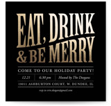This is a black holiday party invitation by Erin Deegan called Bold and Merry printing on signature.