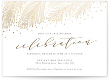 This is a grey holiday party invitation by Sarah Brown called Pine Celebration printing on signature.