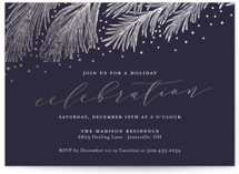 This is a blue holiday party invitation by Sarah Brown called Pine Celebration printing on signature.