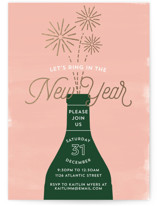 This is a pink holiday party invitation by Erika Firm called Ring It In Fireworks printing on signature.