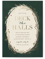 This is a gold holiday party invitation by Kelly Nasuta called Decking the Halls printing on signature.
