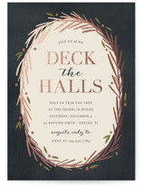 This is a blue holiday party invitation by Kelly Nasuta called Decking the Halls printing on signature.