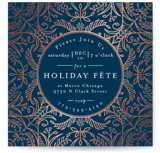 This is a blue holiday party invitation by Melanie Kosuge called DIA printing on signature.