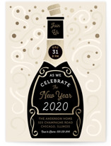 This is a black holiday party invitation by Paper Sun Studio called Champagne New Year printing on signature.