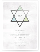 This is a grey holiday party invitation by Summer Winkelman called hanukkah star printing on signature.