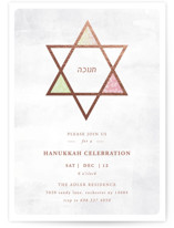 This is a pink holiday party invitation by Summer Winkelman called hanukkah star printing on signature.