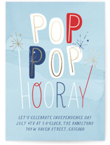 This is a blue holiday party invitation by Baumbirdy called Pop Pop Hooray printing on signature.