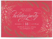 This is a red holiday party invitation by Kristie Kern called Festive Winter Frame printing on signature.