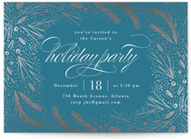 This is a blue holiday party invitation by Kristie Kern called Festive Winter Frame printing on signature.