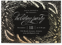 This is a black holiday party invitation by Kristie Kern called Festive Winter Frame printing on signature.