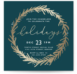 This is a gold holiday party invitation by Kate Ahn called gilded wreath printing on signature.