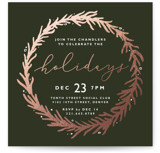 This is a green holiday party invitation by Kate Ahn called gilded wreath printing on signature.