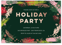This is a green holiday party invitation by Coco and Ellie called Christmas Abstract Floral printing on signature.