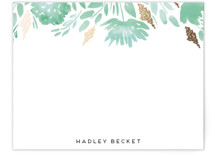 This is a green foil stamped stationery by Petra Kern called Watercolor Delight Border with foil-pressed printing on signature.