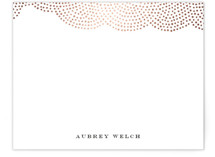 This is a rosegold foil stamped stationery by Oscar & Emma called Majestic with foil-pressed printing on signature.