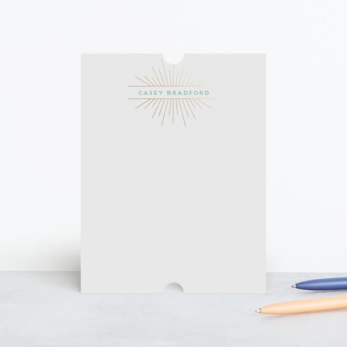 """Deco Starburst"" - Vintage, Modern Foil-pressed Stationery in Sunshine by Shirley Lin Schneider."
