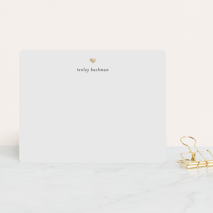 """For Heart's Sake"" - Minimalist, Minimalist Foil-pressed Stationery in Cotton by Michelle Poe."