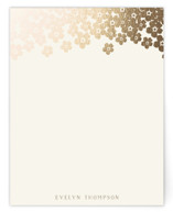 This is a gold foil stamped stationery by Faiths Designs called Forget-Me-Not with foil-pressed printing on signature.