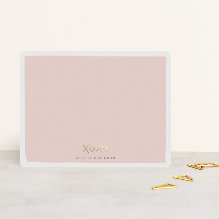 """""""Hugs and Kisses"""" - Simple, Whimsical & Funny Foil-pressed Stationery in Blush by Shirley Lin Schneider."""