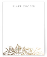This is a gold foil stamped stationery by Smudge Design called Gilded Wildflowers with foil-pressed printing on signature.