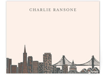 This is a pink foil stamped stationery by Hooray Creative called Big City - San Francisco with foil-pressed printing on signature.