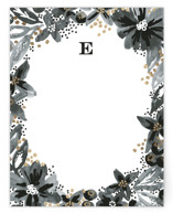 This is a black and white foil stamped stationery by Alethea and Ruth called Watercolor Floral Wreath with foil-pressed printing on signature.