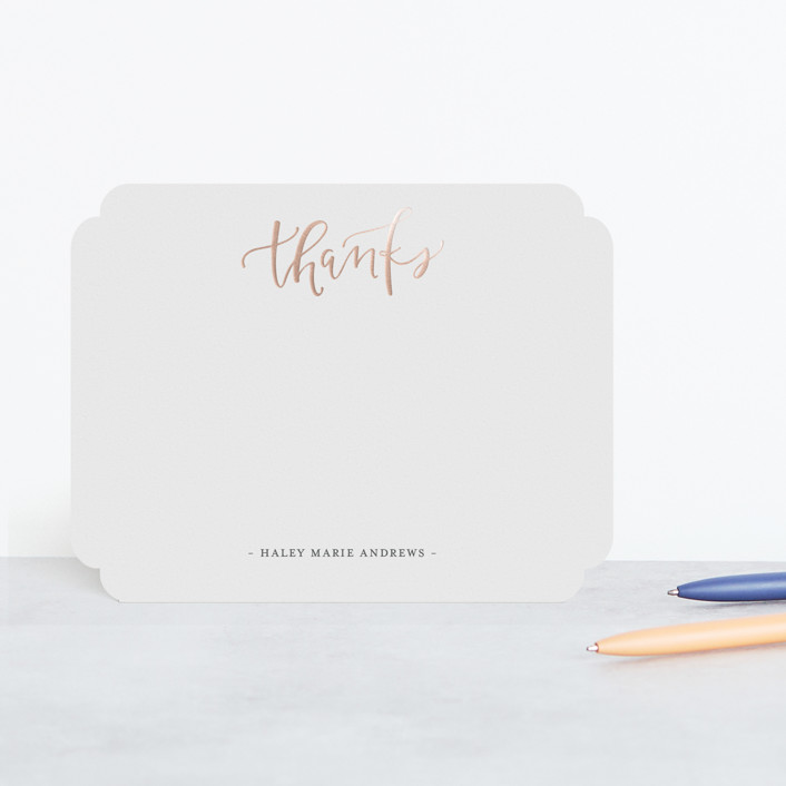 """""""Handlettered Thanks"""" - Preppy Foil-pressed Stationery in Coal by Olivia Goree."""