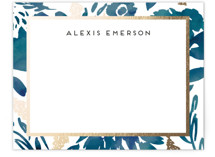 This is a blue foil stamped stationery by Petra Kern called Watercolor Delight Border with foil-pressed printing on signature.