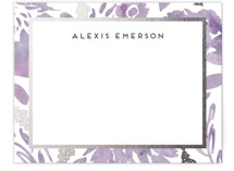 This is a purple foil stamped stationery by Petra Kern called Watercolor Delight Border with foil-pressed printing on signature.