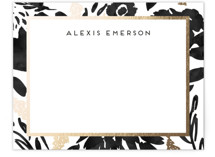 This is a black foil stamped stationery by Petra Kern called Watercolor Delight Border with foil-pressed printing on signature.