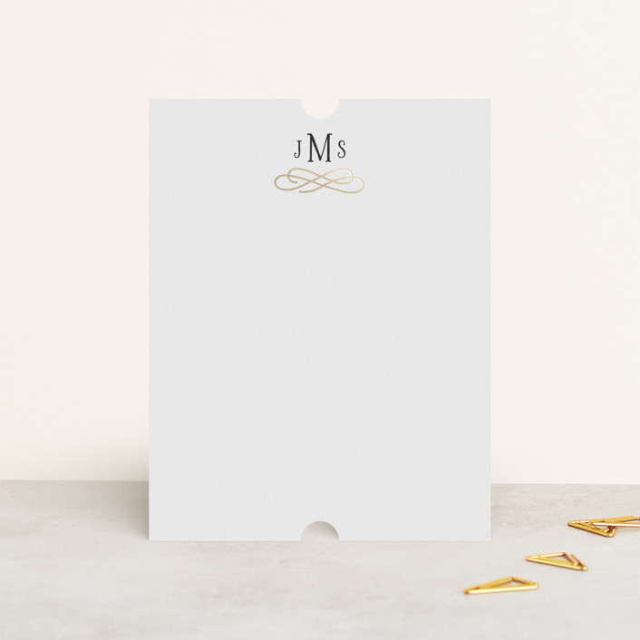 """""""Timeless"""" - Foil-pressed Stationery in Snow by Kim Dietrich Elam."""