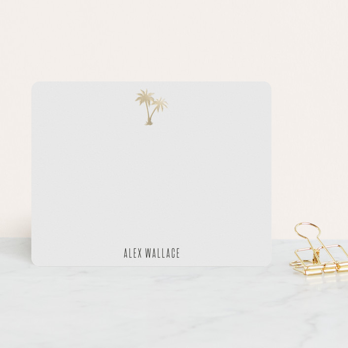 """""""Gilded Palm Tree"""" - Modern, Preppy Foil-pressed Stationery in Cotton by carla san roman."""