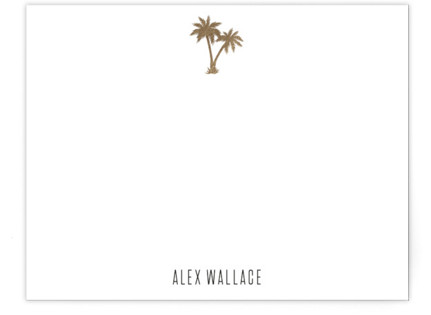 Gilded Palm Tree Foil-Pressed Personalized Stationery