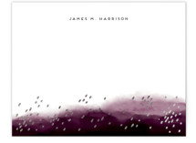 This is a purple foil stamped stationery by iamtanya called Mountain and Rain with foil-pressed printing on signature.