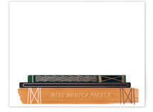 This is a orange foil stamped stationery by Baumbirdy called Bookends with foil-pressed printing on signature.