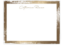 This is a brown foil stamped stationery by Pixel and Hank called Catherine with foil-pressed printing on signature.