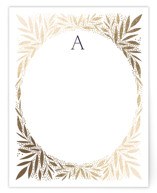 This is a white foil stamped stationery by Alethea and Ruth called Jeweled Wreath with foil-pressed printing on signature.