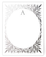 This is a grey foil stamped stationery by Alethea and Ruth called Jeweled Wreath printing on signature.