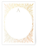 This is a brown foil stamped stationery by Alethea and Ruth called Jeweled Wreath with foil-pressed printing on signature.