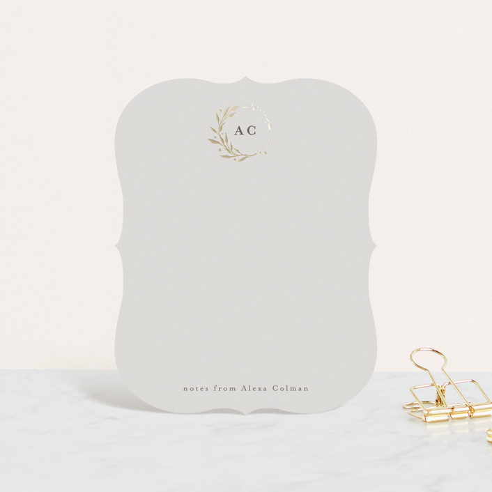 """Lovely Wreath"" - Foil-pressed Stationery in Golden by Anastasia Makarova."