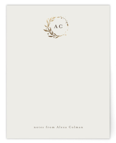 Lovely Wreath Foil-Pressed Personalized Stationery