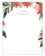 This is a red foil stamped stationery by Alethea and Ruth called Painted Floral Cascade with foil-pressed printing on signature.